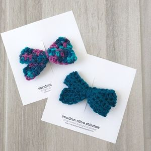 Other - Peacock Blue Girls Hair Bows, Crochet Bows